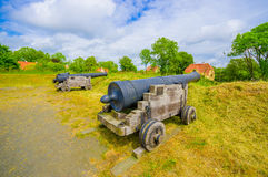 Old cannons in Kristianstad, Sweden Stock Image