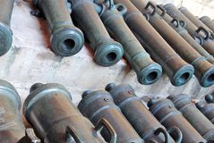 Old cannons in Moscow Kremlin. UNESCO Heritage Site. Stock Photos