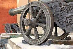 Old cannons in Moscow Kremlin. UNESCO Heritage Site. Old cannons in Moscow Kremlin, a popular touristic landmark. UNESCO World Heritage Site royalty free stock photo