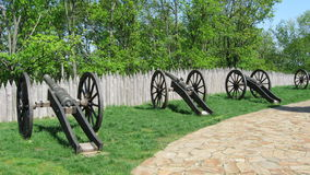 Old cannons and palisade in Baturyn stock photo