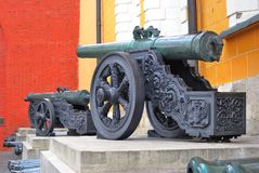 Old cannons put in a row in Moscow Kremlin. UNESCO Heritage Site. Royalty Free Stock Photo