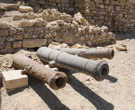 Old cannons at a roman fort Stock Photos