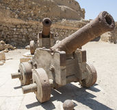 Old cannons at a roman fort Royalty Free Stock Image