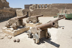 Old cannons at a roman fort Stock Photo