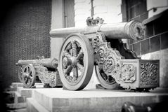Old cannons shown in Moscow Kremlin. Royalty Free Stock Images