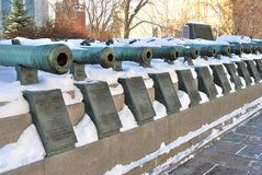 Old cannons shown in Moscow Kremlin. UNESCO World Heritage Site. Stock Images
