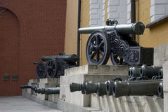 Old cannons shown in Moscow Kremlin. Stock Images