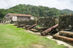 Old cannons in Spanish fort ruin in Panama stock photography
