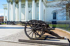 The old cannons in St Petersburg. The old Turkish cannons surround the Memorial Column, located at the Trinity Cathedral in Izmailovsky Prospekt, St Peterburg Royalty Free Stock Image