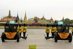 Old cannons for Thai King's birthday, a major Stock Photo