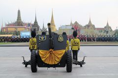Old cannons for Thai King's birthday, a major Stock Photos