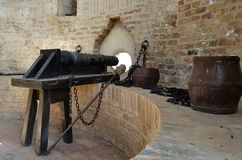 Old cannons to defense the castle. Old cannons ready to defense from the internal wall of the italian castles stock photography