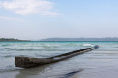 Old canoe at Havelock Island, Andamans, India. Small old canoe of indigenous people of Andaman Islands stock images