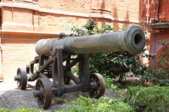 Old Canon. Vintage Civil War era canon on a battlefield stock photography