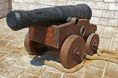 Old canon. Old classic canon in Hydra, Greece stock images