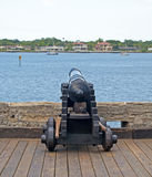 Old canon aiming at the sea Royalty Free Stock Photography