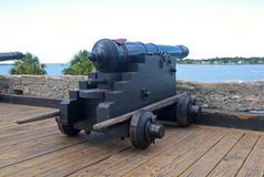 Old canon aiming at the sea Royalty Free Stock Photos