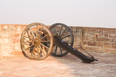 Old canon on the battlements of Jodhpur. 30th November 2015, Jodhpur, Rajastan, India. Old canon on the battlements of Jodhpur. Exploring the delights the Blue Royalty Free Stock Photos