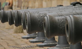 Old canon guns. A picture of old canon guns in a row photo taken in paris Stock Image