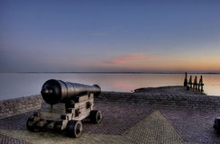 Old canon overlooking sea Royalty Free Stock Image