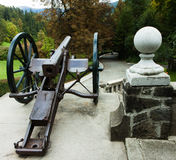 An old canon. At the pelesch castle in Sinaia romania Stock Photos