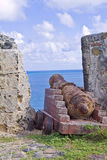 Old canon at the St Maarten tropical island Royalty Free Stock Images