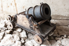 Old Canon. In the yard stock photo