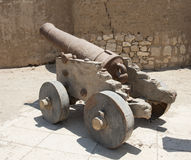 Old canons at a roman fort Stock Photo
