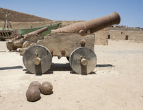 Old canons at a roman fort Royalty Free Stock Images