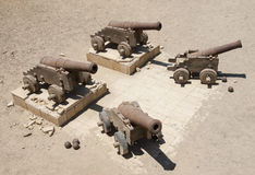 Old canons at a roman fort Stock Image