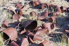Old Cans In The Desert stock photo
