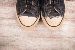 Old canvas shoes Stock Photography