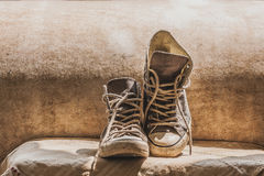 Old Canvas Sneakers Royalty Free Stock Photos