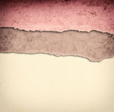 Old canvas texture background with delicate stripes pattern and vintage torn paper Royalty Free Stock Image