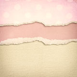 Old canvas texture background with delicate stripes pattern and vintage torn paper Stock Photo