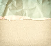 Old canvas texture background with delicate stripes pattern and vintage torn paper Stock Photography