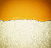 Old canvas texture background with pattern and yellow vintage torn paper Royalty Free Stock Photos