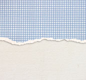 Old Canvas Texture Background With Delicate Stripes Pattern And Blue Vintage Torn Paper Royalty Free Stock Photography