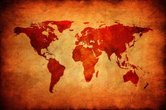 Old canvas with world map. World map on a old canvas Royalty Free Stock Photos