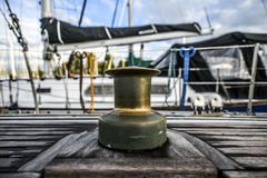 Old capstan on a sailing boat in marine. Szczecin Stock Photography