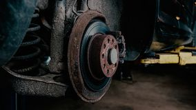 Old brake discs repair. Old car's brake discs repair. Auto parts royalty free stock photography