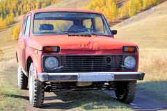 Old car. Old russian off-road car on altai Royalty Free Stock Photos