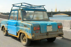 Old car. Old car on quay of Neva, St.-Petersburg. And it moved Royalty Free Stock Photos