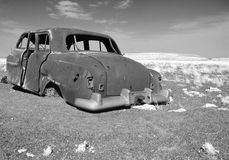 Old car in AZ desert. Old car on Navajo Reservation near Flagstaff, Azirona Stock Images