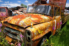 Old car. S on one of New Zealand car yards not far from mount Ruapehu stock photos