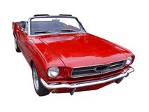 Old car. Ford Mustang in red Stock Photo