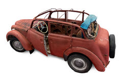 Old car. Prepared for reconstruction isolated on white. Clipping path included Stock Images