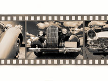 Old car on 35mm film. Old vintage car on 35mm black and white film fragment Royalty Free Stock Photos