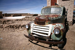 Old car. Old and rusty retro truck wreck Stock Image