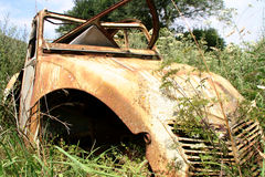 Old French Citroen car. Rusty old car in the open fields Royalty Free Stock Images
